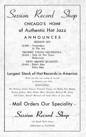 Session Record Store ad, January/February 1945, The Jazz Session