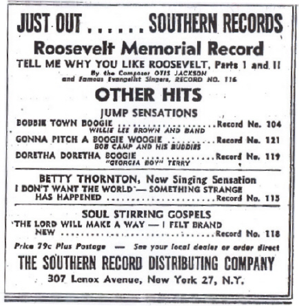 Southern Records ad from  February 1946