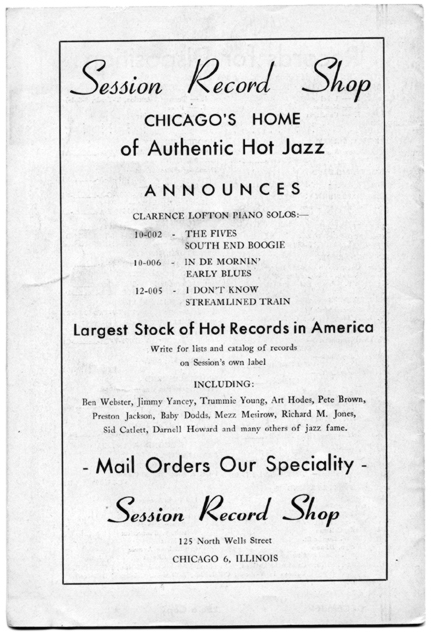 Session ad in The Jazz Session, Dec. 1944