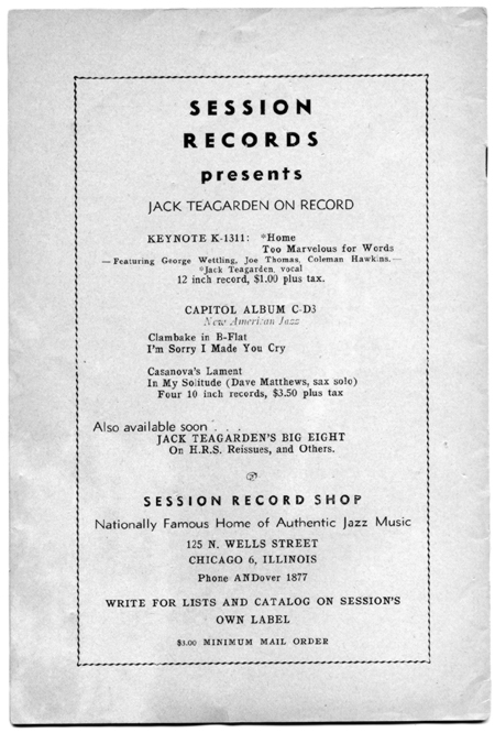 Session ad in The Jazz Session, Feb. 1946
