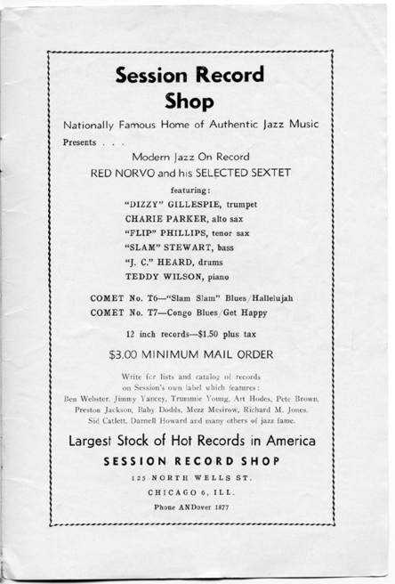 Session ad in The Jazz Session, Sep.-Oct. 1946