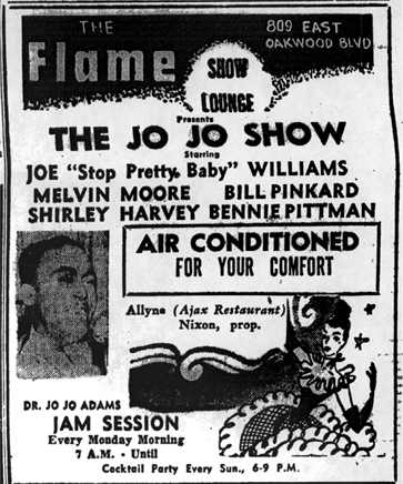 Jo Jo Adams at the Flame Lounge, July 9, 1953