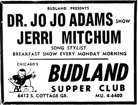 Jo Jo Adams at Budland, October 5, 1957