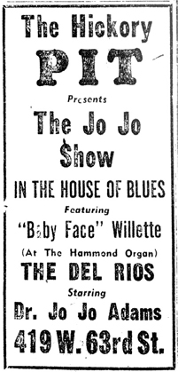Jo Jo and Baby Face and John G at the  Hickory Pit, March 5, 1960