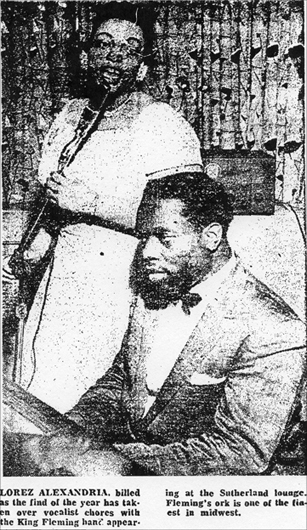 Lorez Alexandria and King Fleming at the Sutherland, Chicago Defender, July 9, 1956
