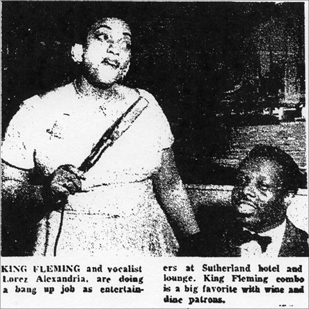 Lorez Alexandria and King Fleming at the Sutherland, Chicago Defender, August 2, 1956