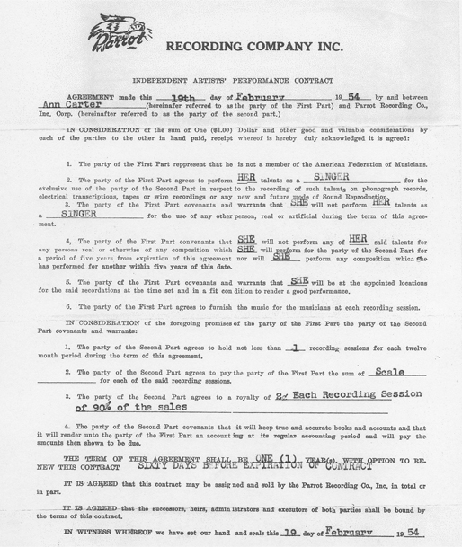 Ann Carter's recording contract with Al Benson