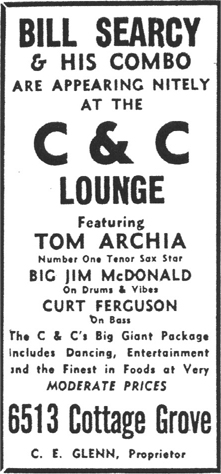 Tom Archia at the C & C, April 1954