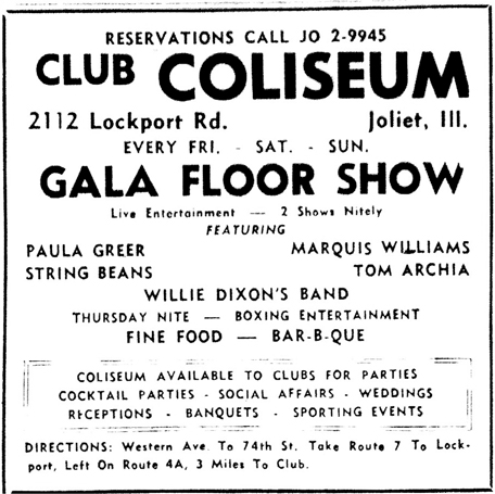 Tom Archia at Club Coliseum in Joliet, September 1959