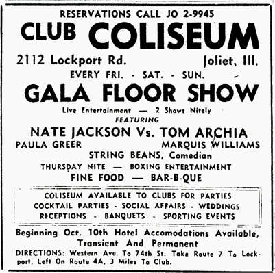 Tom Archia at Club Coliseum, October 3, 1959