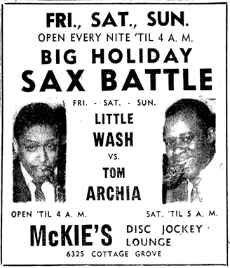 Tom Archia at McKie's, December 12, 1959