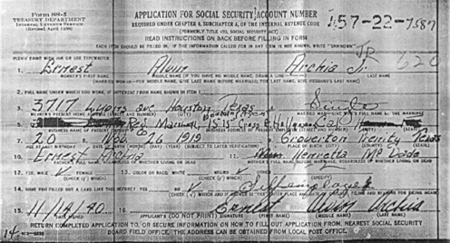 Tom Archia's Social Security application, 1940