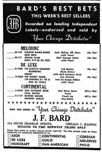 J. F Bard ad, Billboard, January 12, 1946