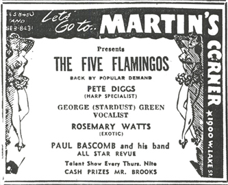Flamingos and Paul Bascomb at Martin's Corner, October 16, 1954
