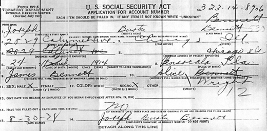 Joseph Buster Bennett's application for Social Security, August 30, 1938