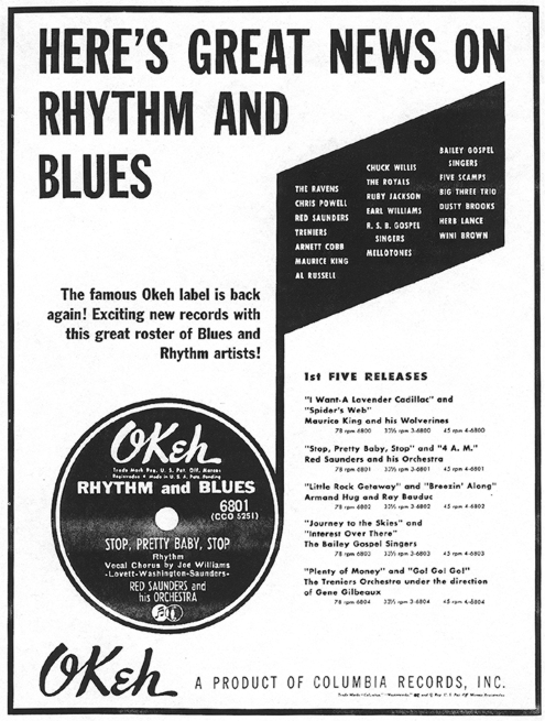OKeh ad in Cash Box, July 21, 1951