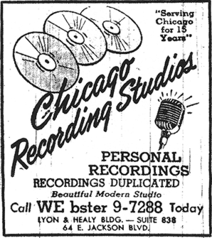 1951 Yellow Pages ad for Chicago Recording Studios