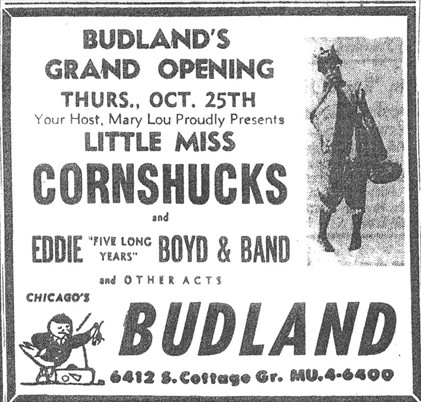 Little Miss Cornshucks at Budland, October 27, 1956