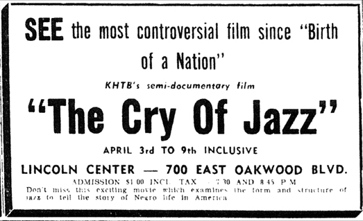 Ad for the first showing of The Cry of Jazz