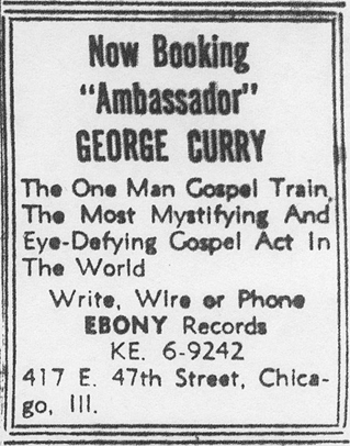 Booking ad for George Curry from May  1952