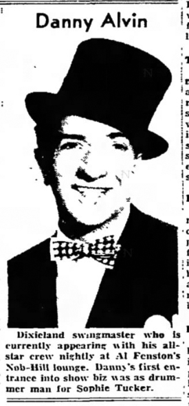 Danny Alvin, in the Southtown Economist, January 10, 1951, p 10