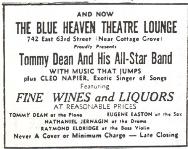 Ad for Tommy Dean in the Defender, June 12, 1947