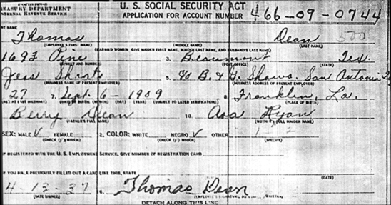 Tommy Dean's application for a Social Security Card