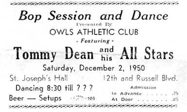 Tommy Dean ticket, December 2, 1950