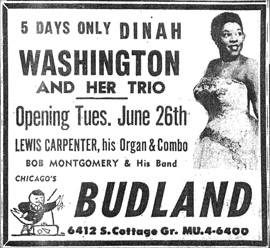 Dinah Washington at Budland, June 23, 1956