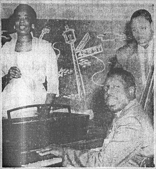 King Fleming, Ethel Duncan and Russell Williams at the Sutherland Lounge, 1956