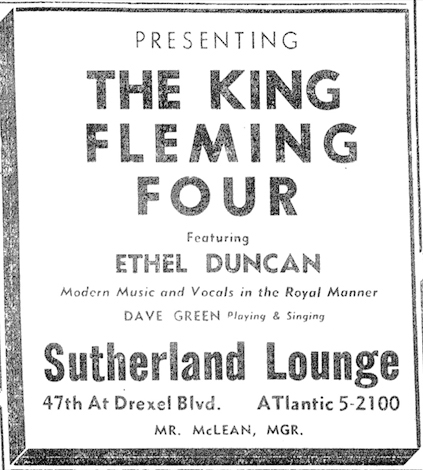 King Fleming ad, Sutherland Lounge, May 26, 1956