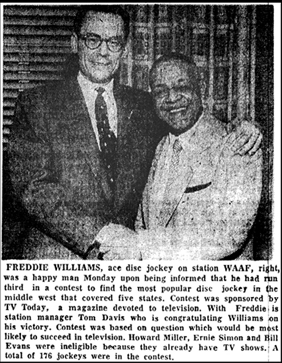 Freddie Williams photo, Chicago Defender, April 3, 1954, p. 24
