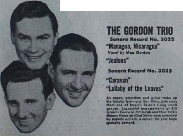 Max Gordon Trio, Sonora ad, February 1, 1947