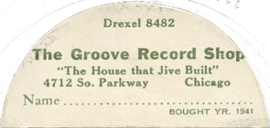 A label sticker from the Groove Record Shop