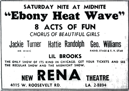Hattie Randolph in Rena Theatre ad, October 22, 1955