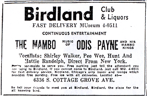 Hattie Randolph at the first Birdland, December 25, 1954