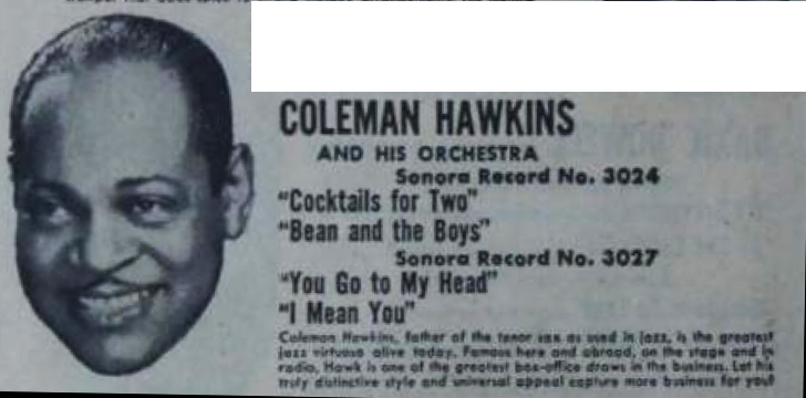 Coleman Hawkins ad, Sonora Records, February 1, 1947