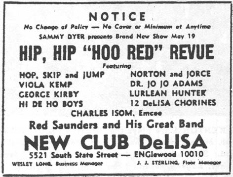 Red returns to the Club DeLisa, May 19, 1947