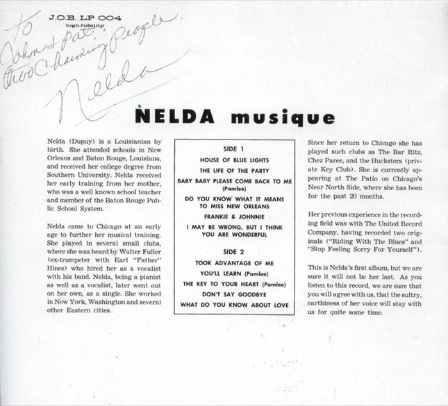 Nelda Dupuy, Musique, back cover of JOB LP 004