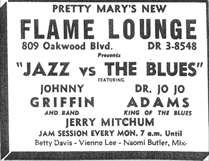 Jo Jo Adams at the Flame Lounge, November 1956