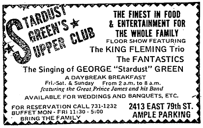 King Fleming at Stardust Green's Supper Club, October 2, 1970