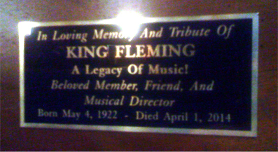 Plaque on King Fleming's piano