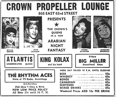 King Kolax at the Crown Propeller, October 16, 1954