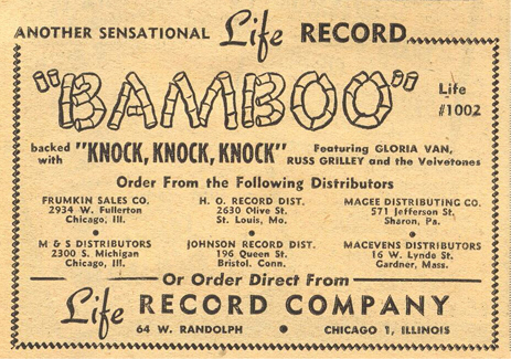 Billboard ad for Life Records, March 4, 1950