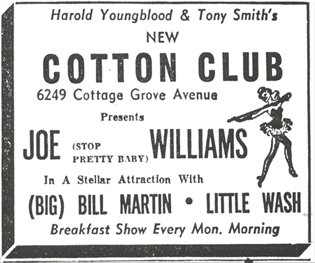Little Wash and Joe Williams at the Cotton Club, October 1954