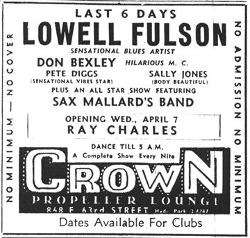 Sax Mallard at the Crown Propeller Lounge, April 3, 1954