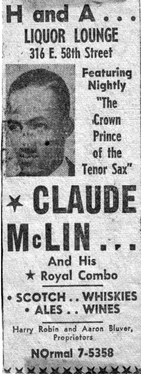 1948 ad for Claude McLin at the H&A Lounge