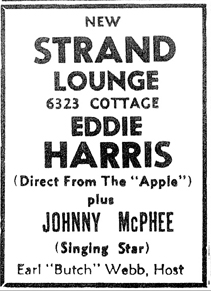 Johnny McPhee at the Strand Lounge, February 18, 1956