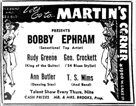 Tom Mims at Martin's Corner, July 3, 1954