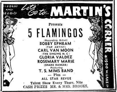 Tom Mims at Martin's Corner, September 4, 1954